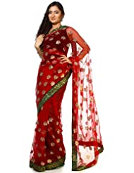 Exotic India Tango-Red See-Through Sari With Embroidered Sequins And Patch - Red