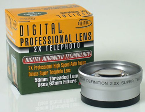 Digital Optics Professional 2X Telephoto Lens Converter - For 58Mm Threading (Silver)