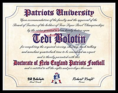 "New England Patriots Ultimate Fan Personalized Diploma - Perfect Gift - 8.5"" x 11"" Parchment Paper"