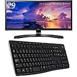 LG 29UC88-B IPSディスプレイ 29インチ/曲面 Ultra Wide/ AH-IPS非光沢/2560×1080/HDMI LOGICOOL ワイヤレスキーボード K270 セット