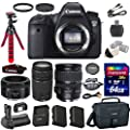 Canon EOS 6D 20.2 MP Full-Frame CMOS Digital SLR Camera with Canon EF 28-135mm f/3.5-5.6 IS USM Lens + Canon EF 50mm f/1.8 STM Lens + Canon EF 75-300mm f/4-5.6 III Lens + Transcend 64GB Memory Card