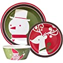 クリスマス メラミン食器セット(プレート大小/ボウル) 並行輸入品