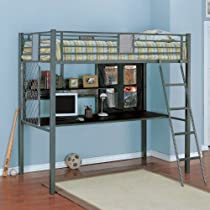 "Hot Sale Twin Size Study Loft - ""Monster"" (Silver/Grey) (72"" H x 78.5"" W x 60.75"" D)"
