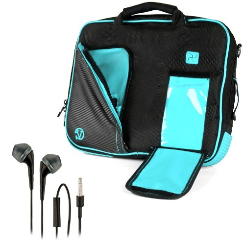 "Vangoddy Pindar Sling - Pro Deluxe Shoulder Messenger Carrying Bag (Black & Aqua Blue) For Amazon Kindle Fire Hdx / Hd 8.9"" Smart Tablet + Black Hands-Free Earphones (Headphones With Microphone)"