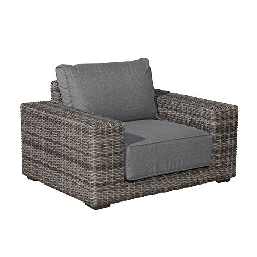 OUTLIV. Messina Loungestuhl Geflecht Organic Grey / Kissen Anthrazit 700016-845562