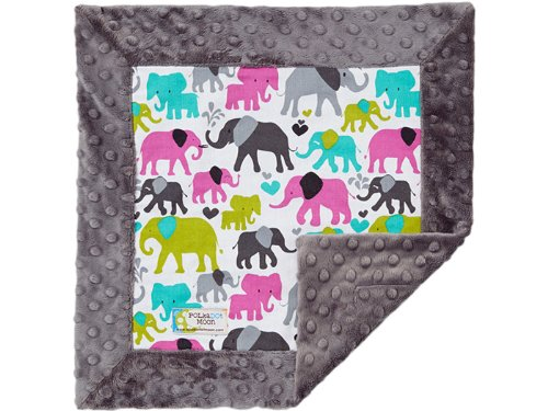 Baby Girl LUXE Lovey/Security Blanket - Elephants on Gray Minky - 1