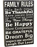 Young's Family Rules Wood Block Sign, 11.75-Inch
