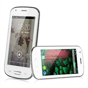 """Smartphone MYSAGA C3 Débloqué 4.0"""" écran tactile Google Android 4.2 MTK6572W Dual Core GPS Wi-Fi Bluetooth - Blanc - caméra arrière (0,3 mégapixels), caméra frontale (0,3 Mégapixel) - pas compatible avec 3G ou 4G"""