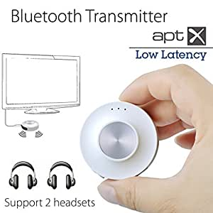 [2016 Version] LOW LATENCY Bluetooth Transmitter Splitter for TV with AptX, Wireless Audio Adapter, Support Two Bluetooth Headphones or Speakers Simultaneously Avantree Priva II