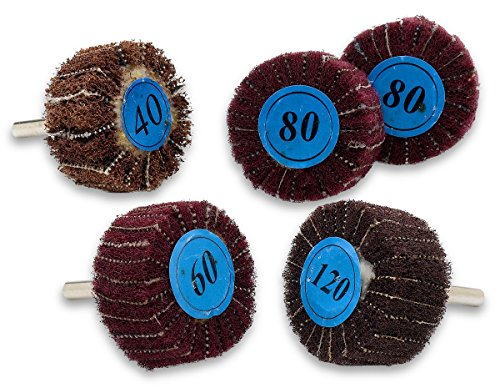 Flap Discs - Abrasive Flap Wheel 2 x 1 - 5 Piece Finishing Sander- 1/4 Shanks Fit All Drills - 40 60 80 And 120 Grids - By Katzco (1 4 Die Grinder Sander compare prices)