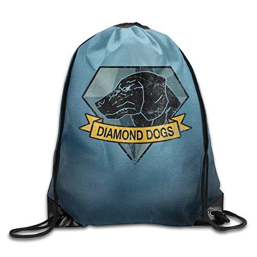 かわいい ユニセックス ダイアモンド ドッグス ポスター 巾着リュックサック 旅行 ゴルフ釣り 超軽量 White