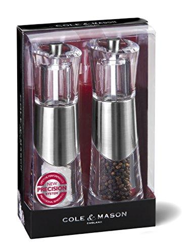 Cole & Mason Precision Bobbi Ensemble de moulins poivre/sel en acrylique avec bande chromée 185 mm
