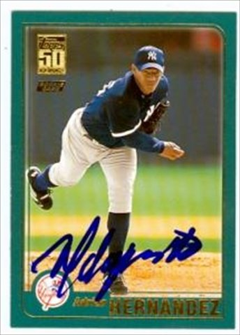 Autograph Warehouse 41720 Adrian Hernandez Autographed Baseball Card New York Yankees 2001 Topps Rookie No. T226