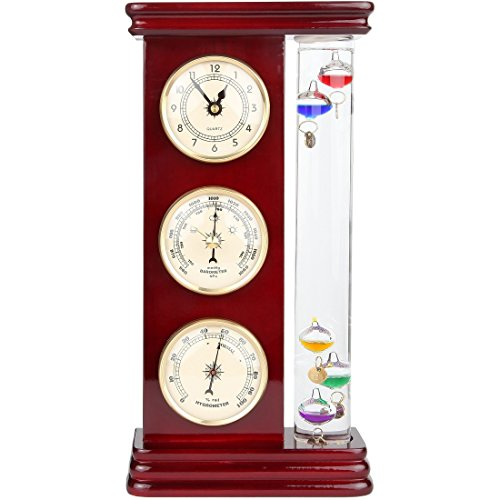 Lily's Home® Galileo Weather Station with Galileo Thermometer, a precision quartz clock, barometer and hygrometer - 1