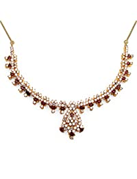 32.40 Grams White Cubic Zirconia & Maroon Glass Gold Plated Brass Necklace Set