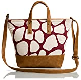 #4: Mammon Women's Pu Leather Canvas Sling bag Handbag (C-jiraf,35x27x9 Cm)