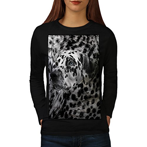 dalmatien-chien-visage-animal-style-femme-nouveau-noir-xxl-t-shirt-manches-longues-wellcoda