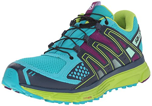 Salomon Women's X-Mission 3 W Trail Running Shoe, Teal Blue/Granny Green/Passion Purple, 7.5 B US