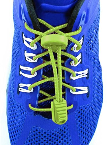 Elastolaces - No Tie Shoe Lock Laces - 2 Additional Clips - Marathon Sport Schedule (Screamin Green)