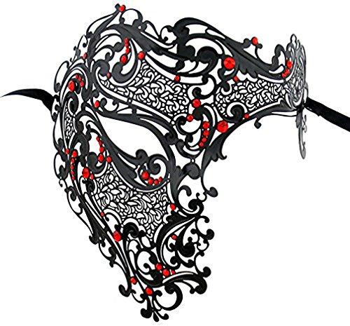 [Metal Half Face Mask Venetian Masquerade Halloween Mardi Gras Costume] (Simple Halloween Masks)