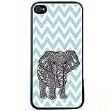 Change Blue Chevron Elephant iPhone 4 Case For iPhone 4 4S 4G (Fashion design-1)