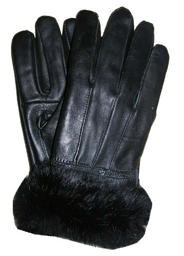 WOMENS FUR TRIMMED SOFT LEATHER GLOVES picture