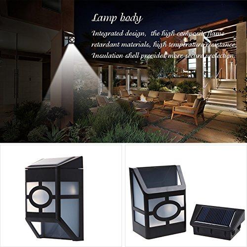 Dbpower Solar Powered Wall Mount 2 Led Lantern Light Outdoor Landscape Garden Fence Lamp