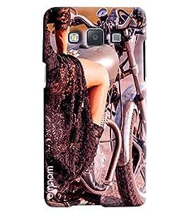 Omnam Girl Sitting On Bullet Printed Designer Back Cover Case For Samsung Galaxy E5