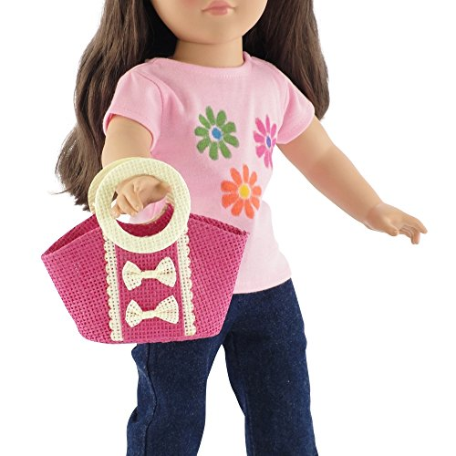 18-inch Doll Accessories | Doll-Sized Woven Pink and Cream Purse - Handbag | Fits American Girl Dolls - 1
