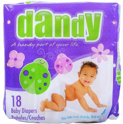 Ddi Dandy Large Baby Diapers Size 4 (22-35 Lbs)(Pack Of 18)