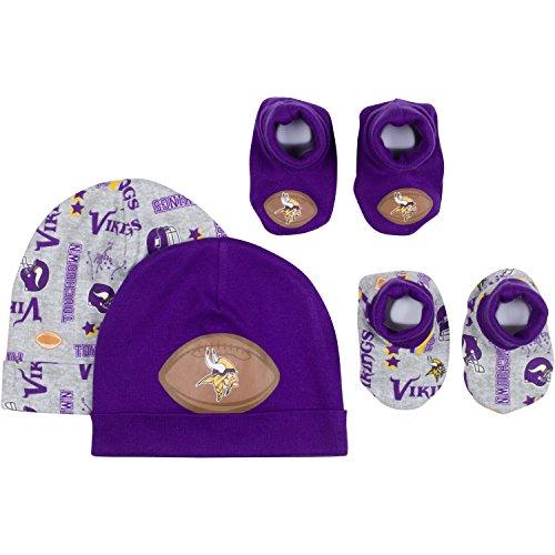 NFL Minnesota Vikings 2 Baby Caps and 2 Booties Set, 0-6 Months, Purple/Gray