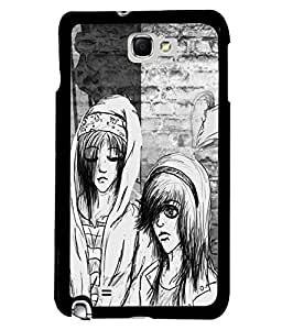 Fuson Black & White Couple Back Case Cover for SAMSUNG GALAXY NOTE 1 - D3823