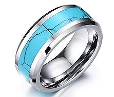 buy Migaga 8 Mm Polished Beveled Edge With Blue Opal Inlay Unisex Tungsten Carbide Wedding Band Ring (10)