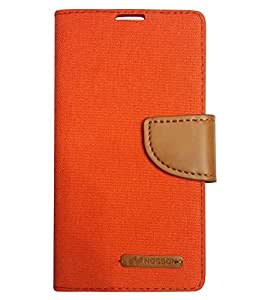 Aart Fancy Wallet Dairy Jeans Flip Case Cover for MicromaxQ380 (Orange) By Aart Store