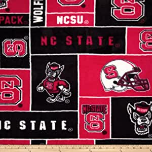 collegiate fleece north carolina state university red fabric by the yard. Black Bedroom Furniture Sets. Home Design Ideas