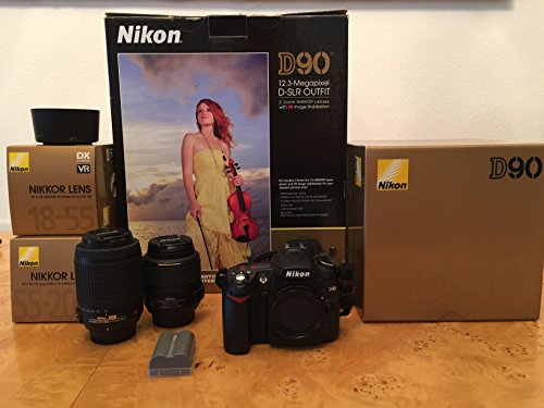 Nikon D90 12.3 Mp Digital Slr Camera With 8 Lens Deluxe Camera Outfit # Nikon 18-55 Vr Lens # Nikon 70-300 G Lens + 42X Super Wide Angle Fisheye Lens + 2X Telephoto Lens (Doubles The Power Of Your Lens) # Extra Rechargable Battery + 2 Uv Filters + Circula