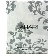 Tahari Luxurious Grey & White Damask Medallion Fabric Shower Curtain