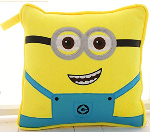 Novelty Plush Despicable Me Minions Home Bed Sofa Chair Car Seat Nap Throw Cushion Warm Hands Pillow Blanket Lumbar Support Cover Case Decor Child Gift Present Decoration Toy (Two Eyes) front-941884