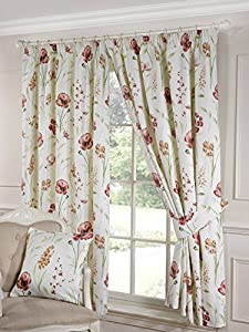 "Elsa Floral Poppy Cream Red 46"" X 90"" Lined Pencil Pleat Curtains #arret Eille from PCJ Supplies"