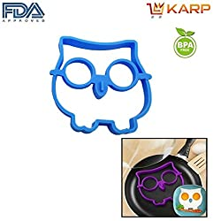 """KARPâ""""¢ Set Of 2 Owl Shape Silicone Fried Egg Mold Pancake Rings, Non Stick Bakeware Accessories Kitchen Tools,BPA free, FDA approved, 100% food grade silicone - Sky Blue colour."""