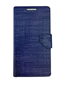 Premium Luxury PU Leather Flip Stand Back Case Cover For Samsung Galaxy ON7 - Blue