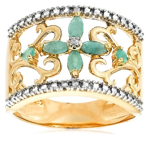 Yellow Gold Plated Sterling Silver Emerald with Diamond-Accent Flower Ring, Size 7