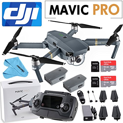 DJI Mavic Pro Collapsible Quadcopter: Includes 2X SanDisk 64GB MicroSD Card+ Cleaning Cloth+1 Intelligent Flight Battery