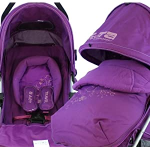 AMAZON STROLLER BABY TRAVEL ZETA VOOOM COMPLETE - PLUM WITH FOOTMUFF
