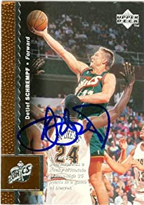 Detlef Schrempf Autographed Hand Signed Basketball Card (Seattle Sonics) 1996 Upper...