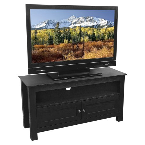 cheap walker edison 44 inch wood tv stand console black stand tv. Black Bedroom Furniture Sets. Home Design Ideas