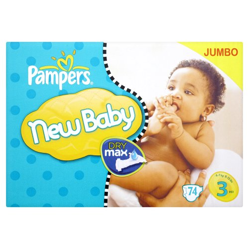 Pampers New Baby Size 3 (9-15 lbs/4-7 kg) - 1 x Jumbo Pack of 74 (74 Nappies)