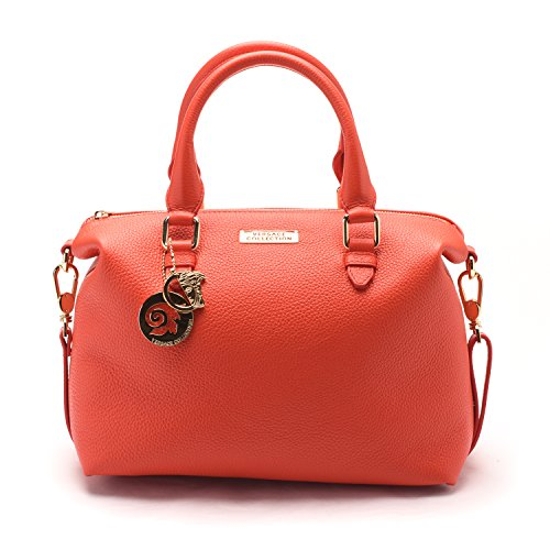7686e03ddd Versace Collections Women Pebbled Leather Top Handle Shoulder Handbag  Satchel Red - SHOP HANDBAG BOUTIQUE