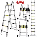 Cravog New 3.8M 1.9   1.9M Multipurpose Aluminum Alloy Telescopic Style Folding Extension Extenable Ladder
