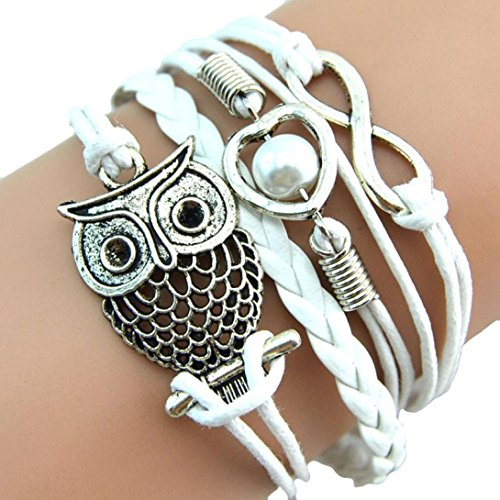 RIUDA Fashion Women Lovely Infinity Owl Pearl Friendship Multilayer Charm Leather Bracelets Gift (White ) (Cool Things Under 5 Dollars compare prices)